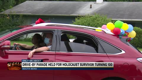 Drive-by parade held for Holocaust survivor turning 100